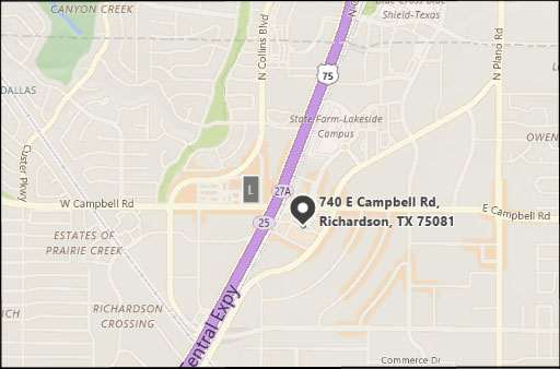 Map to Tannery Company, 740 E. Campbell Rd., Richardson, TX 75081